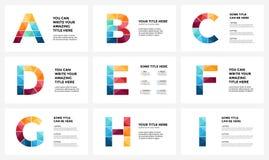 Alfabeto infographic, plantilla del vector de la diapositiva de la presentación Concepto del infographics del negocio con las let Foto de archivo
