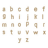 Alfabeto inglés ABC de la comida seca del gato y de perro, en blanco Imagenes de archivo