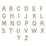 Alfabeto inglés ABC de la comida seca del gato y de perro, en blanco Fotos de archivo