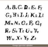 Alfabeto inglés - cartas del typewritter del grunge Fotos de archivo libres de regalías