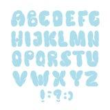 Alfabeto inglés Dé el tipo exhausto como las nubes aisladas en el fondo blanco Ilustración del vector Imagenes de archivo