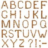 Alfabeto inglés de la galleta del chocolate Imagenes de archivo