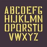 Alfabeto inglés de la plantilla Letras de la plantilla del sello con un marco Fuente aislada sello para la señalización retra urb Foto de archivo libre de regalías