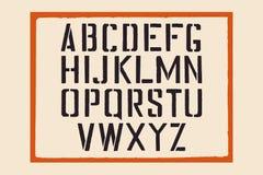 Alfabeto inglés de la plantilla Letras de la plantilla del sello con un marco Fuente del sello para la señalización retra urbana Fotografía de archivo