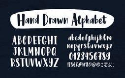 Alfabeto inglés dibujado mano elegante La colección de letras de la mayúscula y minúscula arregló en el orden alfabético, figuras ilustración del vector
