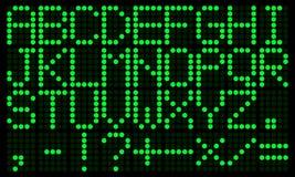 Alfabeto inglés digital electrónico verde Fotos de archivo libres de regalías