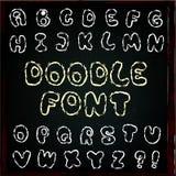 Alfabeto inglés en estilo del garabato Imagenes de archivo