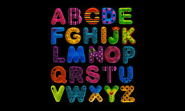 Alfabeto inglés en fondo negro Imagen de archivo
