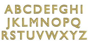 Alfabeto inglés en letras mayúsculas del oro, variante de encargo de la fuente 3D Fotos de archivo
