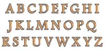 Alfabeto inglés en letras mayúsculas del oro, variante de encargo de la fuente 3D Imágenes de archivo libres de regalías