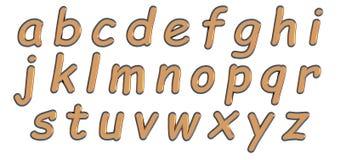 Alfabeto inglés en letras minúsculas del oro, variante de encargo de la fuente 3D Fotos de archivo