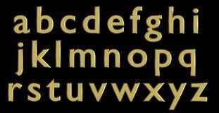 Alfabeto inglés en letras minúsculas del oro, variante de encargo de la fuente 3D Imagenes de archivo
