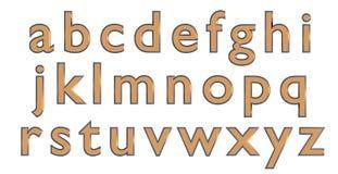 Alfabeto inglés en letras minúsculas del oro, variante de encargo de la fuente 3D Foto de archivo