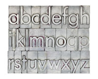 Alfabeto inglés en tipo del metal Imagenes de archivo