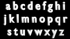 Alfabeto inglés, fuente blanca 3D, minúscula Aislado, fácil de utilizar HACER FRENTE A LA VERSIÓN CORRECTA Foto de archivo libre de regalías