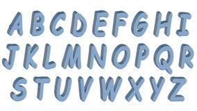 Alfabeto inglés, fuente 3D, mayúscula Estilo azul de los tebeos Aislado, fácil de utilizar Imagenes de archivo