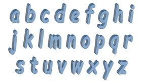 Alfabeto inglés, fuente 3D, minúscula Estilo azul de los tebeos , fácil de utilizar Fotos de archivo libres de regalías
