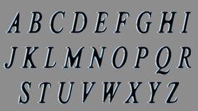 Alfabeto inglés, fuente mayúscula 3D, negra con los lados metálicos Aislado, fácil de utilizar Imagen de archivo libre de regalías