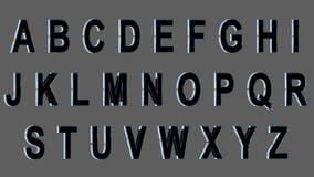 Alfabeto inglés, fuente mayúscula 3D, negra con los lados metálicos Aislado, fácil de utilizar Fotos de archivo