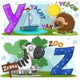 Alfabeto inglés Y Z Fotos de archivo