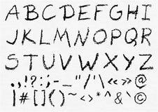 Alfabeto inglês caixa escrito mão do carvão vegetal do vetor Ilustração do Vetor