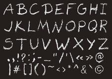 Alfabeto inglês caixa escrito mão do giz Ilustração Stock