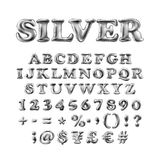 Alfabeto inglês completo dos balões infláveis de prata com o ponto de exclamação, o ponto de interrogação e o hashtag isolados no ilustração do vetor