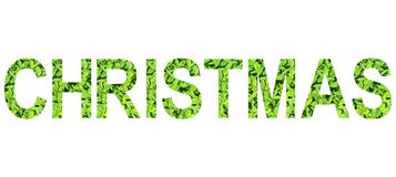 Alfabeto inglês do Natal feito da grama verde no fundo branco para isolado Imagens de Stock Royalty Free