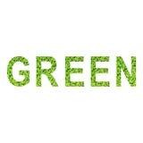 Alfabeto inglês do VERDE feito da grama verde no fundo branco Fotografia de Stock