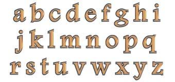 Alfabeto inglês em letras minúsculas do ouro, variação feita sob encomenda da fonte 3D fotos de stock royalty free
