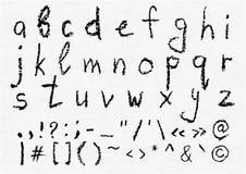 Alfabeto inglês lowercase escrito mão do carvão vegetal do vetor ilustração royalty free