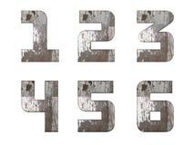 Alfabeto inglês, números e sinais isolados, sujo Foto de Stock