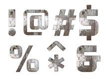 Alfabeto inglês, números e sinais isolados, sujo Imagem de Stock