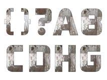Alfabeto inglês, números e sinais isolados, sujo Fotografia de Stock