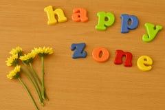 Alfabeto inglese con il fiore giallo, zona felice Immagine Stock Libera da Diritti
