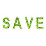 Alfabeto inglese dei RISPARMI fatto da erba verde su fondo bianco Fotografie Stock Libere da Diritti
