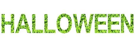 Alfabeto inglese di Halloween fatto da erba verde su fondo bianco per isolato Immagini Stock