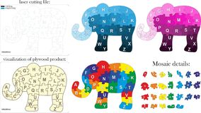 Alfabeto inglese per i bambini Mosaico sotto forma di elefante illustrazione di stock