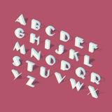 Alfabeto isométrico branco da fonte Fotografia de Stock