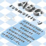 Alfabeto isométrico de la fuente con la sombra del descenso en blanco Imagen de archivo libre de regalías