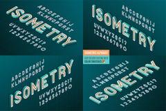 Alfabeto isométrico 4 en 1 letras 3d y números Fotos de archivo libres de regalías