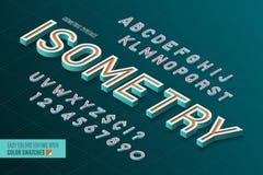 Alfabeto isométrico letras 3d e números Imagens de Stock Royalty Free