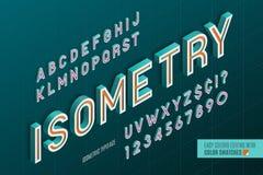 Alfabeto isométrico letras 3d y números Foto de archivo libre de regalías