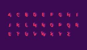 Alfabeto isométrico rosado de la fuente Foto de archivo