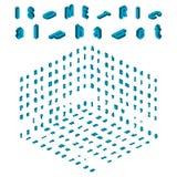 Alfabeto isométrico y elemento de la fuente, pequeño y grande de letras del diseño stock de ilustración