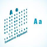 Alfabeto isometrico ed elemento della fonte, piccolo e grande di lettere di progettazione Immagini Stock