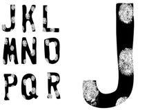 Alfabeto J a R completos de la huella digital (fije 2 de 3) ilustración del vector
