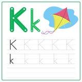 Alfabeto K de la tarjeta de la escritura Imagenes de archivo
