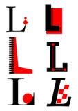 Alfabeto L marchi ed icone di vettore illustrazione di stock