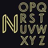 Alfabeto latin decorativo Letras arredondadas do ouro do vetor O estilo dilui linhas Registros de arredondamento graciosos ilustração royalty free